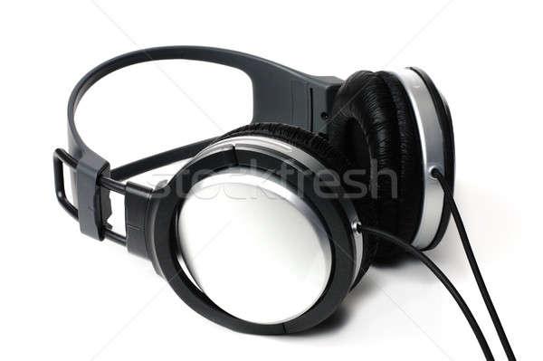 Kulaklık müzik yalıtılmış beyaz arka plan mikrofon Stok fotoğraf © bendzhik