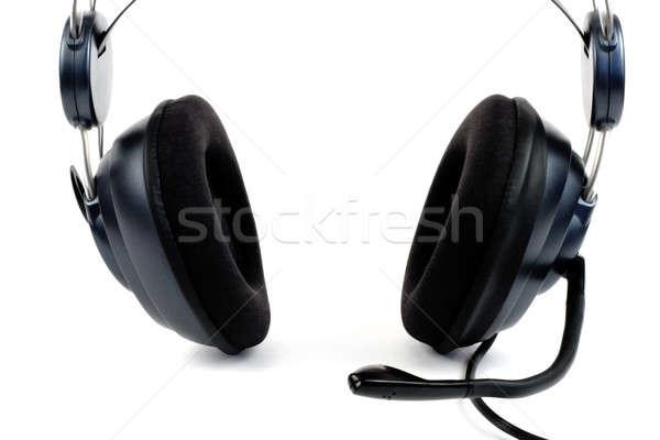 Kulaklık mikrofon yalıtılmış beyaz telefon arka plan Stok fotoğraf © bendzhik
