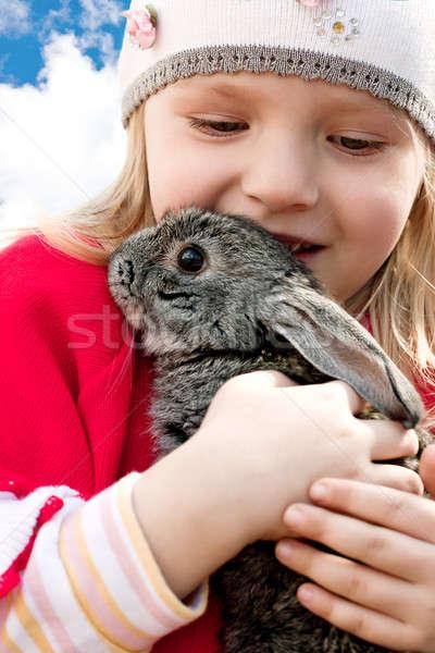 Kız tavşan küçük kız silah bahar Stok fotoğraf © bendzhik