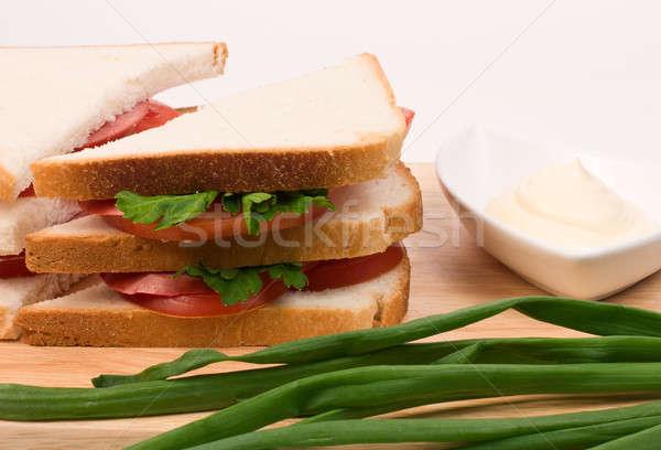 Бутерброды вкусный колбаса помидоров травы продовольствие Сток-фото © bendzhik