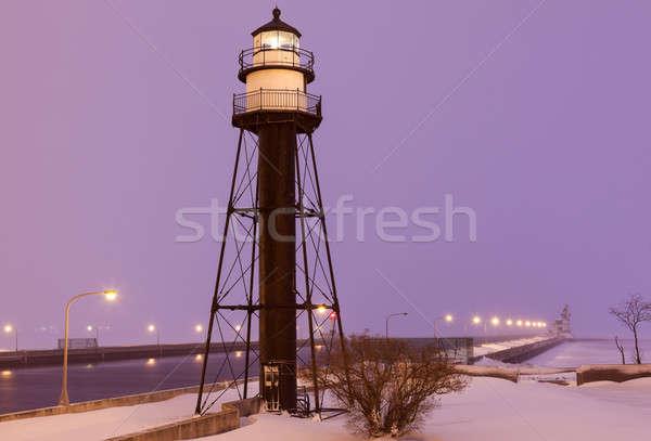 Stok fotoğraf: Liman · güney · iç · deniz · feneri · kar