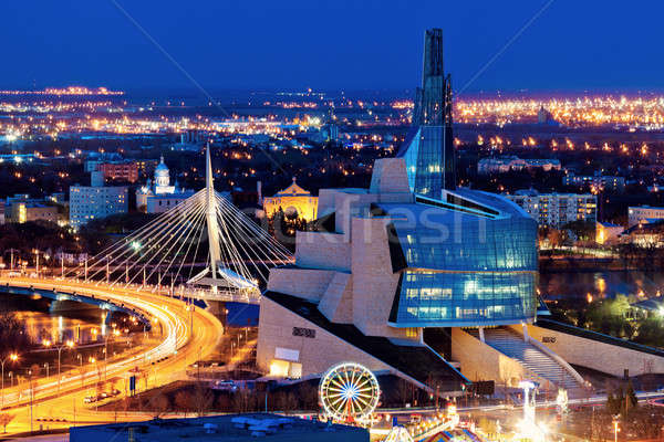 Winnipeg panorama at sunset Stock photo © benkrut