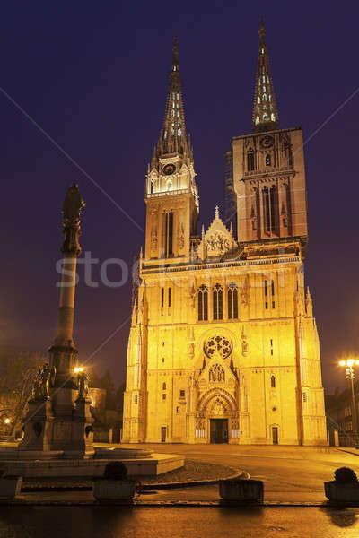 Zagreb catedral cuadrados noche Croacia ciudad Foto stock © benkrut