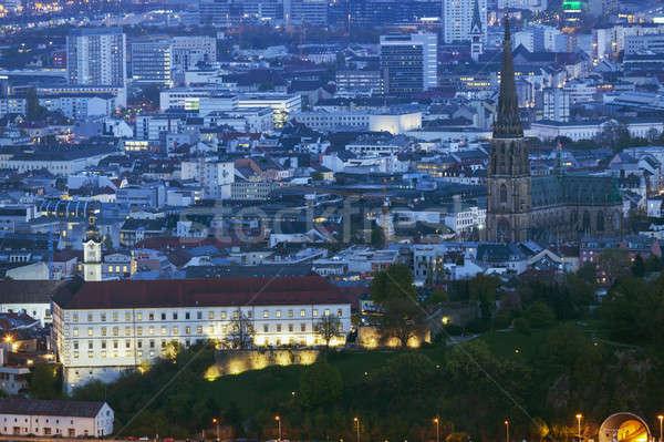 Linz panorama at night Stock photo © benkrut