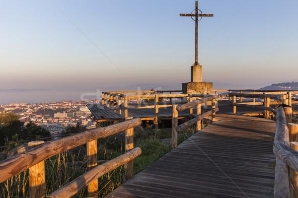 Panorama sunrise regione città chiesa blu Foto d'archivio © benkrut