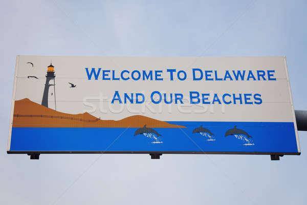 Karşılama Delaware plajlar imzalamak gökyüzü deniz Stok fotoğraf © benkrut