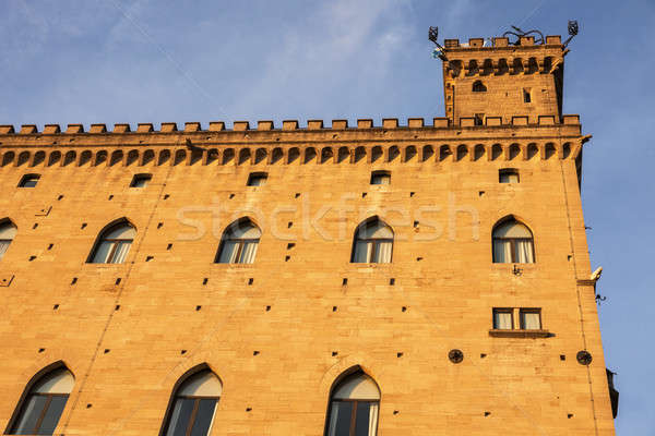 Stad San Marino stadhuis muur Blauw reizen Stockfoto © benkrut