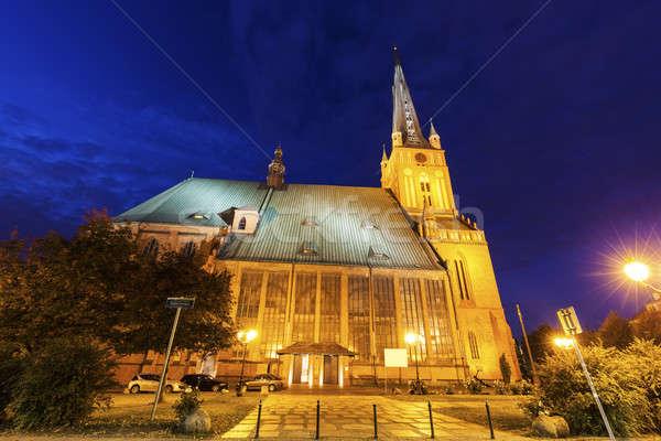 Kathedraal basiliek west kerk Blauw nacht Stockfoto © benkrut