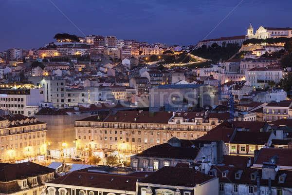 Arquitectura Lisboa noche Portugal edificio iglesia Foto stock © benkrut