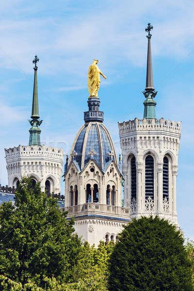 Basiliek Lyon gebouw kerk Blauw skyline Stockfoto © benkrut