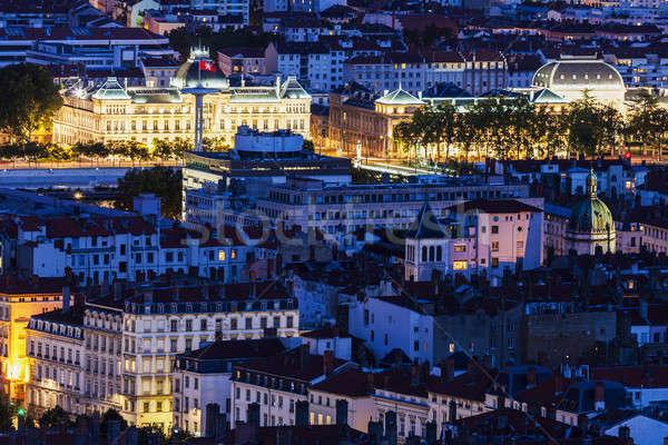 Légi panoráma Lyon éjszaka égbolt ház Stock fotó © benkrut