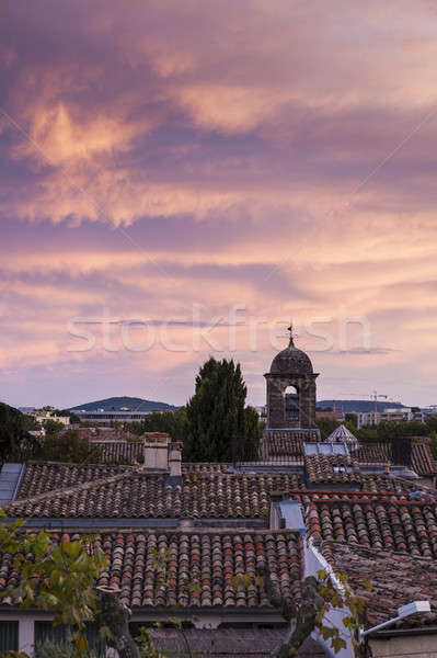 Colorful sunset in Montpellier Stock photo © benkrut