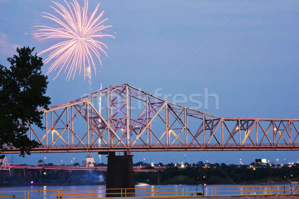 Feux d'artifice Ohio rivière frontière pont Photo stock © benkrut