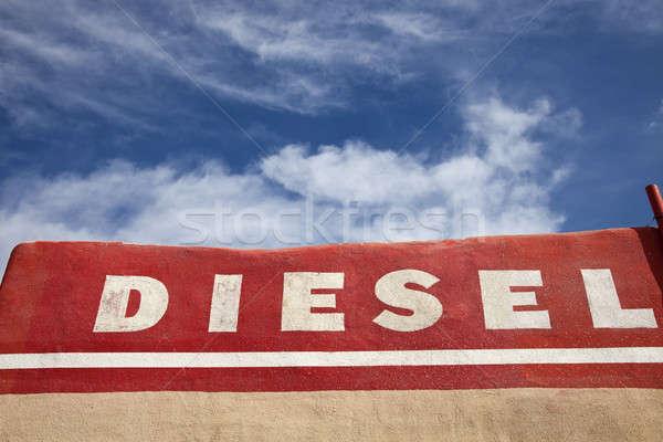 Diesel woord geschreven muur gebouw teken Stockfoto © benkrut