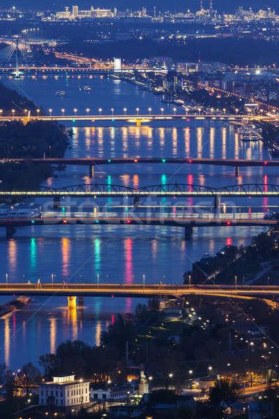 Köprüler tuna nehir Viyana gece Avusturya Stok fotoğraf © benkrut