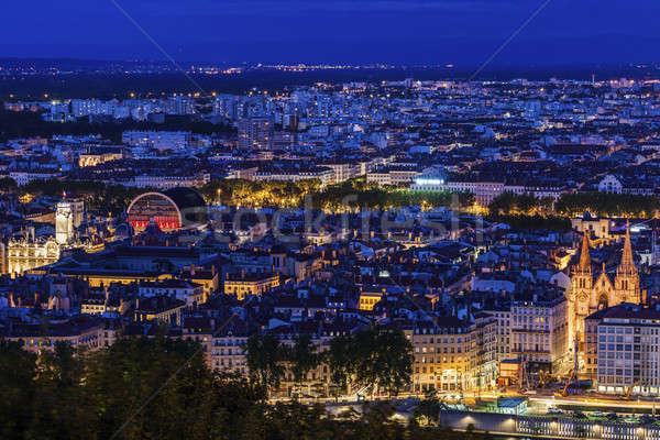 Panorama Lione sera cielo costruzione blu Foto d'archivio © benkrut