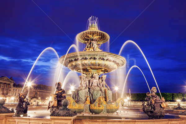 Fontaine des Fleuves on Place de la Concorde in Paris Stock photo © benkrut