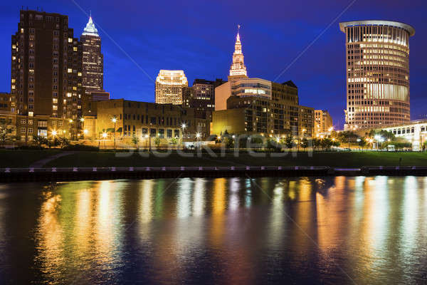 Cleveland skyline at night Stock photo © benkrut