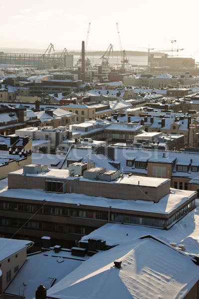Port Helsinki Finlande glace hiver Skyline Photo stock © benkrut