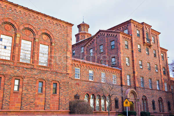 Historisch school centrum reizen stedelijke baksteen Stockfoto © benkrut