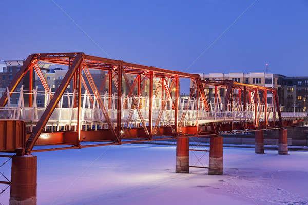 Red bridge in Des Moines Stock photo © benkrut