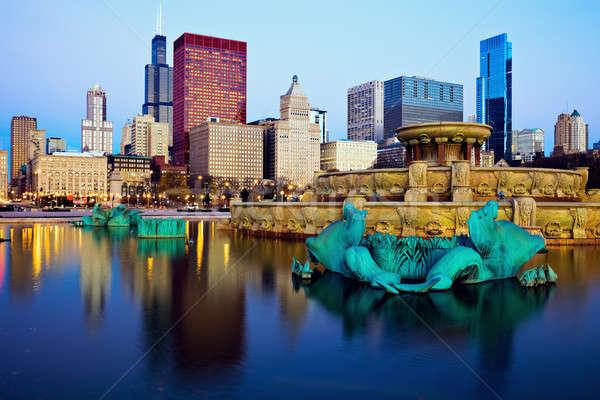 Foto stock: Chicago · linha · do · horizonte · fonte · Illinois · EUA · cidade