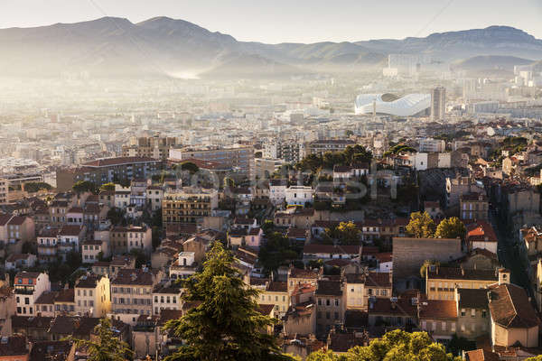 Architecture of Marseille - aerial view at sunrise Stock photo © benkrut