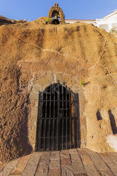 Barlang kápolna Kanári-szigetek Kanári-szigetek Spanyolország sziluett Stock fotó © benkrut