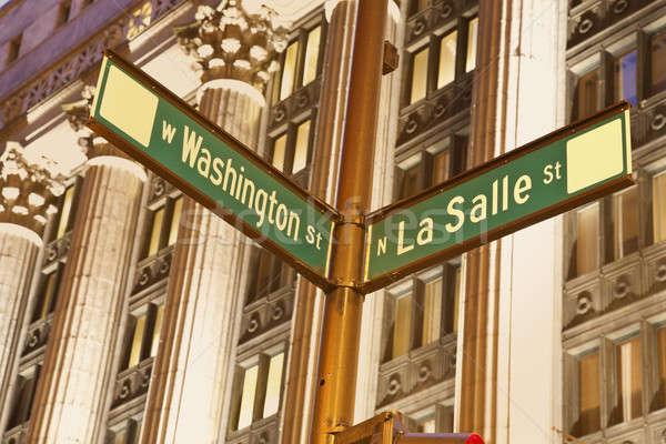 Kreuzung Washington Innenstadt Chicago Spalten Stock foto © benkrut