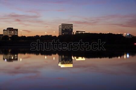 Illinois irodaépületek égbolt utazás sziluett tavacska Stock fotó © benkrut