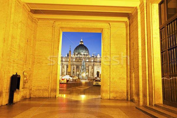 Szent Péter Bazilika kék éjszaka karácsony Róma Olaszország Stock fotó © benkrut