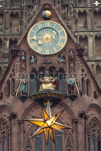 The Frauenkirche - Church of Our Lady with the clock - The Männ Stock photo © benkrut