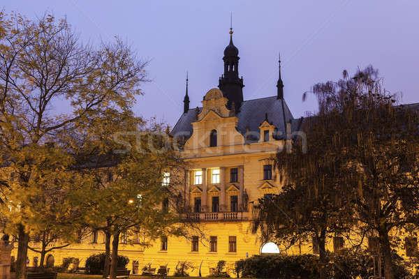Prága helyhatósági bíróság Csehország város naplemente Stock fotó © benkrut