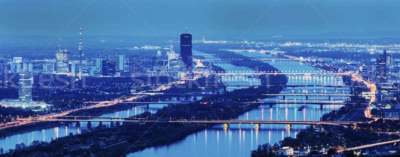 Pontes danúbio rio Viena linha do horizonte cidade Foto stock © benkrut