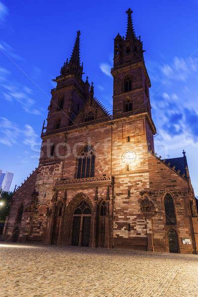 Noite igreja azul urbano linha do horizonte europa Foto stock © benkrut