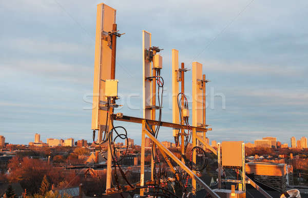 Cellular antennas in the sunset light Stock photo © benkrut
