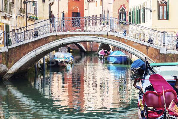 ヴェネツィア 家 教会 橋 ボート スカイライン ストックフォト © benkrut