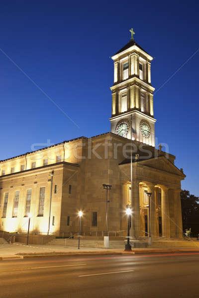 Katedral kilise gece merdiven Stok fotoğraf © benkrut