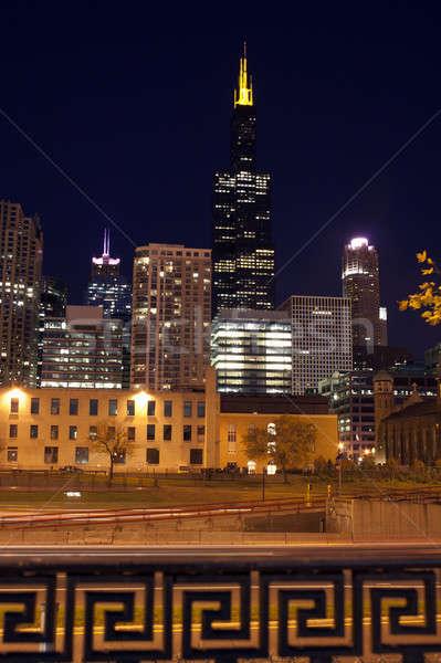 Gece Chicago ufuk çizgisi mimari gökdelen Cityscape Stok fotoğraf © benkrut