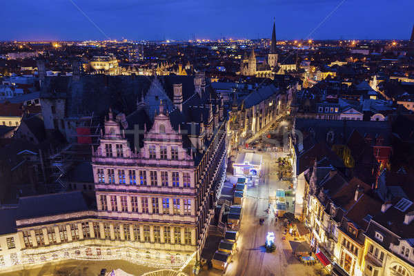 Night in Ghent - aerial view Stock photo © benkrut