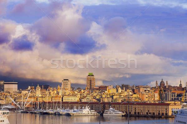 Old town in Genoa accross the harbor Stock photo © benkrut