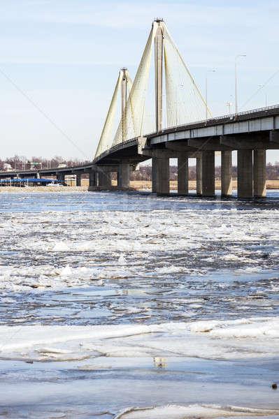 Stok fotoğraf: Köprü · nehir · manzara · kış · seyahat · ufuk · çizgisi