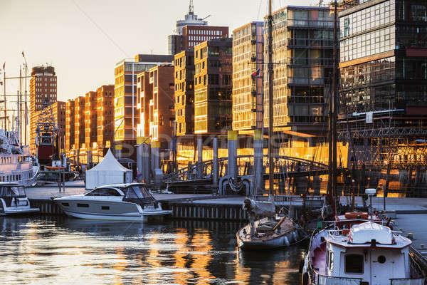 Architecture of Hamburg at sunset Stock photo © benkrut