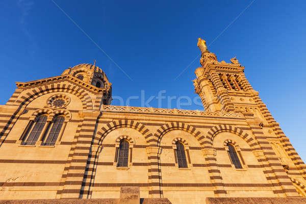 Bazilika Marsilya kilise mavi ufuk çizgisi Stok fotoğraf © benkrut