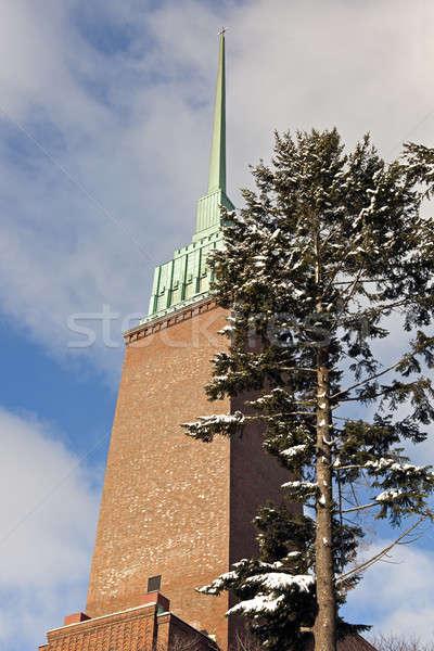 église Helsinki neige Photo stock © benkrut