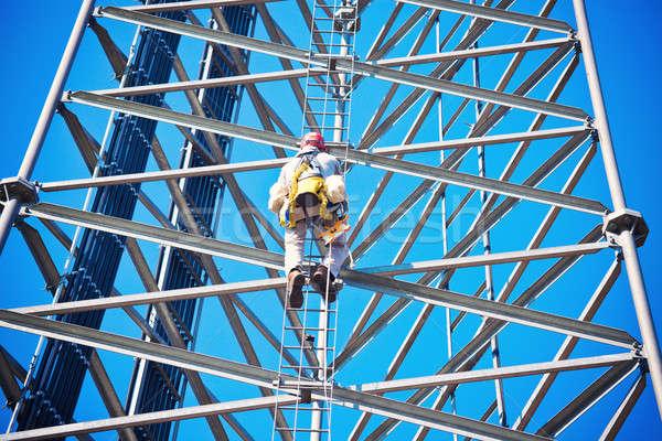 Sejt torony támogatás égbolt építkezés kék Stock fotó © benkrut