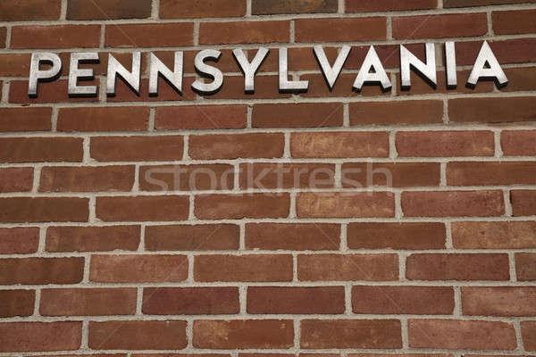Pennsylvania teken muur welkom centrum gebouw Stockfoto © benkrut