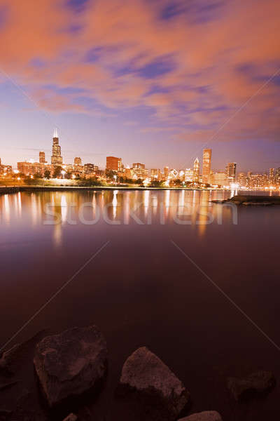 Foto stock: Colorido · Chicago · pôr · do · sol · lago · Michigan