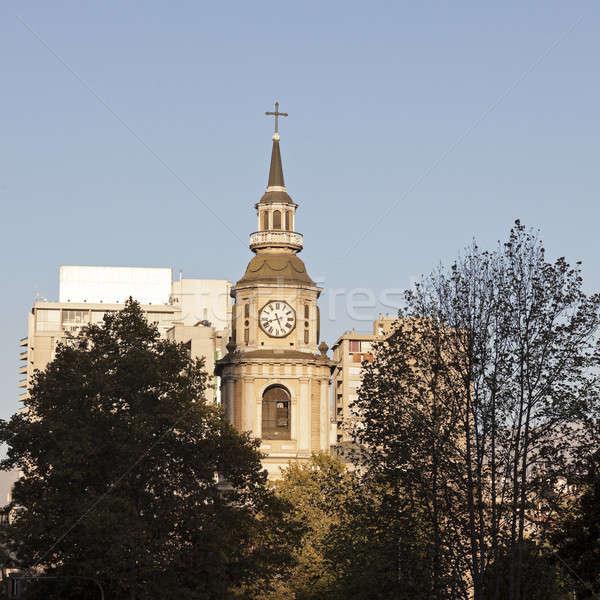 Kilise şehir merkezinde Santiago Şili güney amerika Stok fotoğraf © benkrut