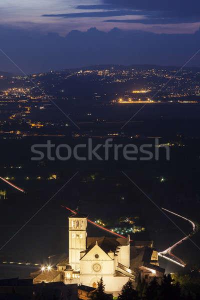 Bazilika éjszaka templom utazás sziluett vallás Stock fotó © benkrut